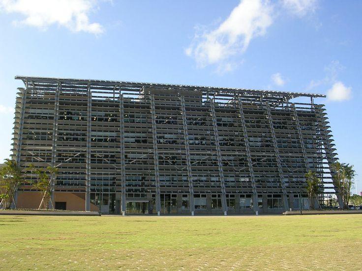 Itoman city government building, Japan; commissioned 2002; Facade - integrated fixed sunscreens, Flat roof - mounted & mechanical fixing, 195kw; Itoman Okinawa; Kobe Steel, Nissin Electric; Architect Nihon Sekkei, Shinjuku, Tokyo