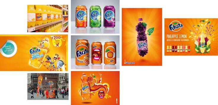 Illustration: Fanta maakt veel gebruik van illustratieve lay-outs en versieringen. Dit maakt het speels en energiek, net zoals de opvallende oranje kleur