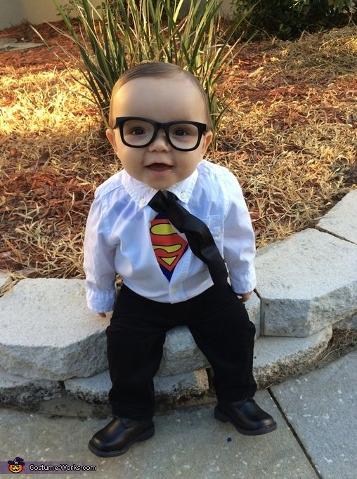 Abby: My 9 month old son Jax is dressed as Clark Kent aka Super Man!! I got the idea from Pinterest and he already had all of the pieces of clothing....