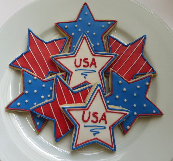 Stars and Stripes, Fourth of July decorated cookies