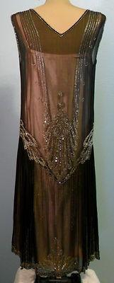 1920'S SHEER ART DECO BEADED DRESS. Back