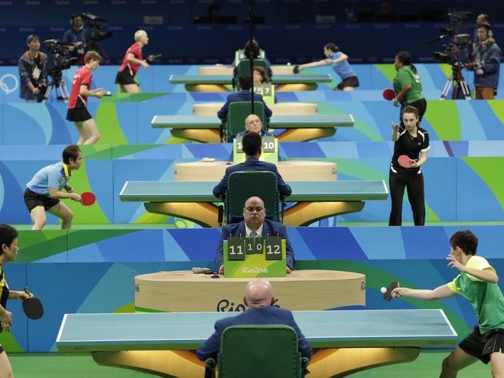 Several table tennis matches take place at Riocentro