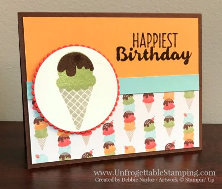 Unfrogettable Stamping   QE birthday card featuring the Cool Treats stamp set and Tasty Treats DSP from Stampin' Up! for week of 01-23-2017