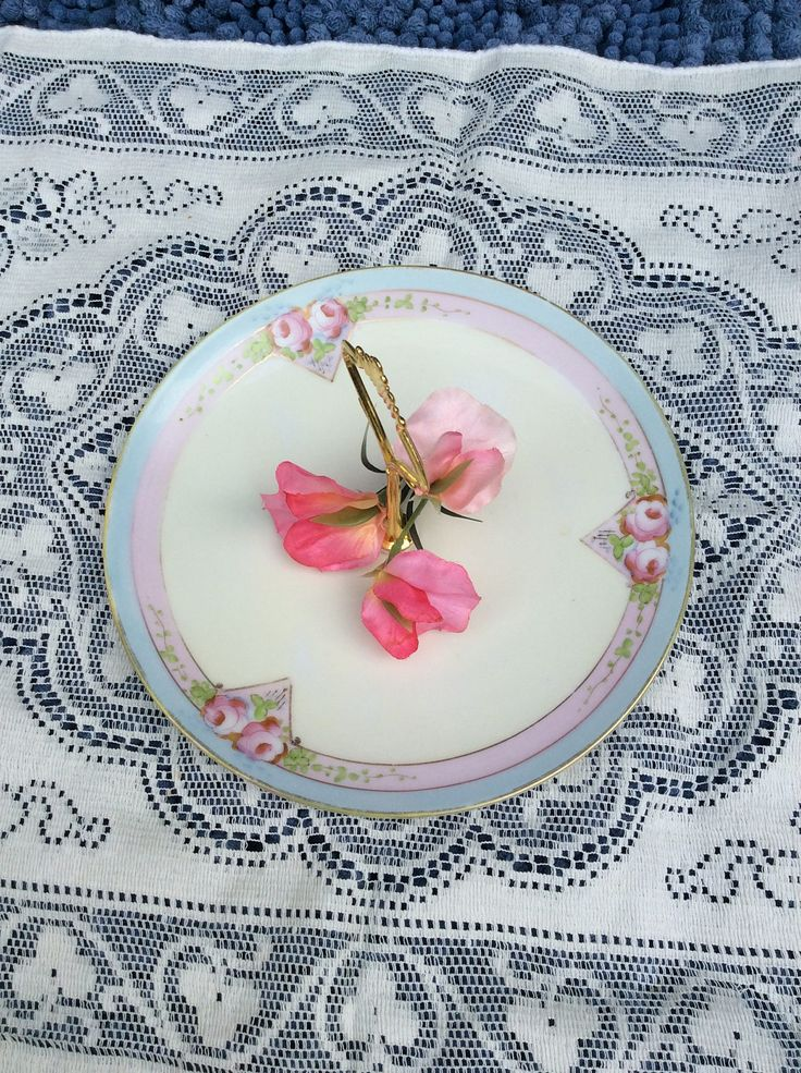 Cupcake plate, dessert stand, pink roses, wedding decor, bridal shower, baby shower, candy dish, jewelry stand, wedding cake table, pink, by DebsDishDesigns on Etsy