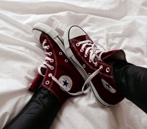 Wine converse, burgundy, blood red Black leather pants Alternative Fashion. All-star