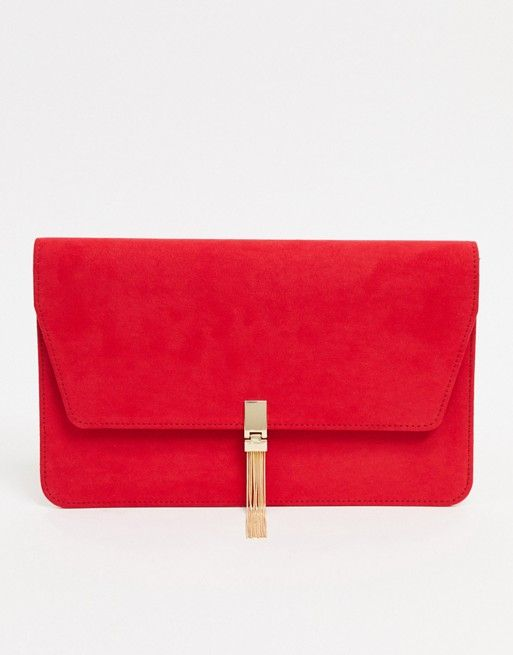 asos design clutch with tab tassel in red asos rotes