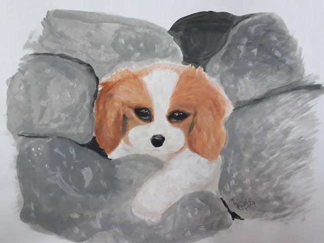 mema: 7th painting....cute puppy..