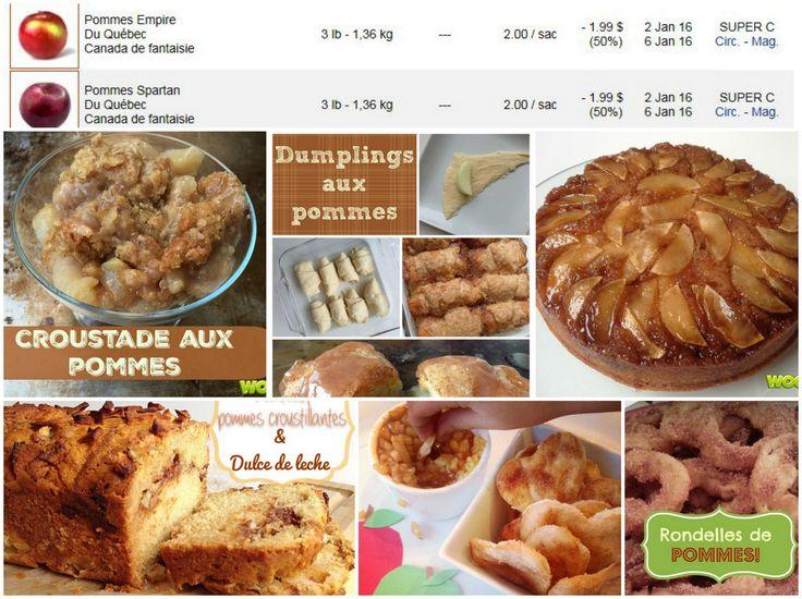 14 délicieuses recettes aux pommes qui vous permettront de profiter du rabais de 50% sur les pommes.