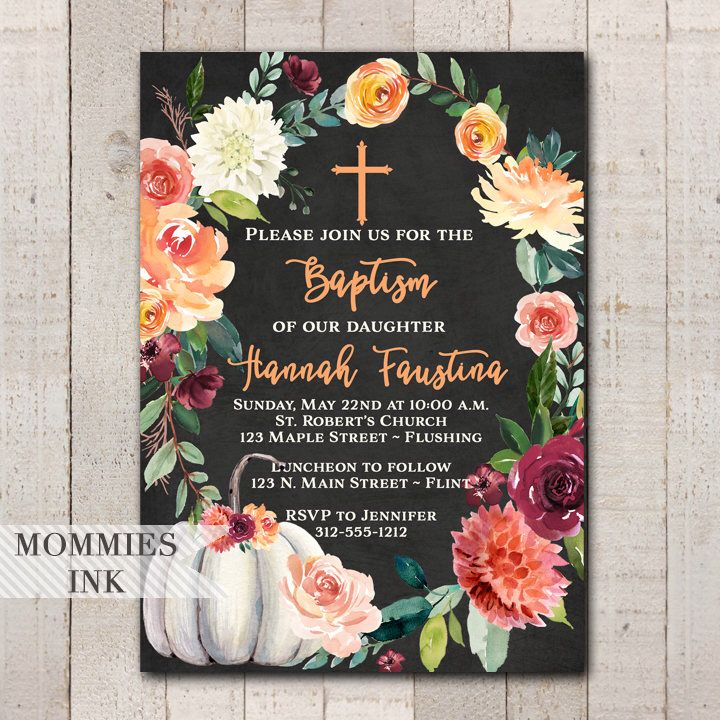 Fall Baptism Invitation Floral Religious Invitation Autumn