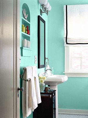 Consider aquamarine for a bathroom.Aquamarines Bathroom, Bathroom Colors, Bathroom Painting, Covington Blue, Colors Feelings, Painting Colors, Bathroom Hands Pick, Colors Ideas, Blue Bathroom