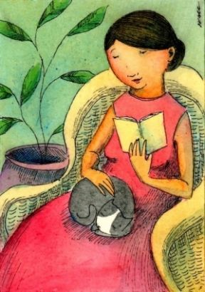 Nicole Wong -reading with kitty