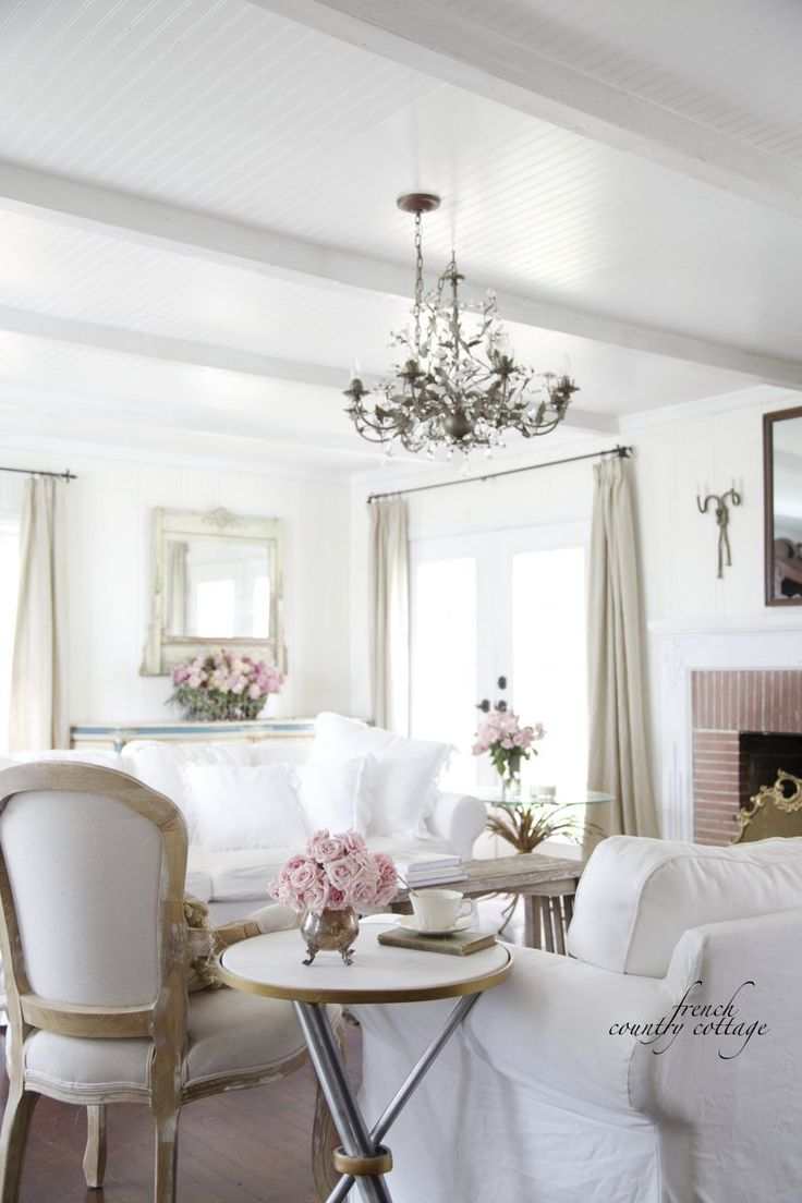 French cottage decor living room - French Country Cottage Inspiration Ruffled Pillows