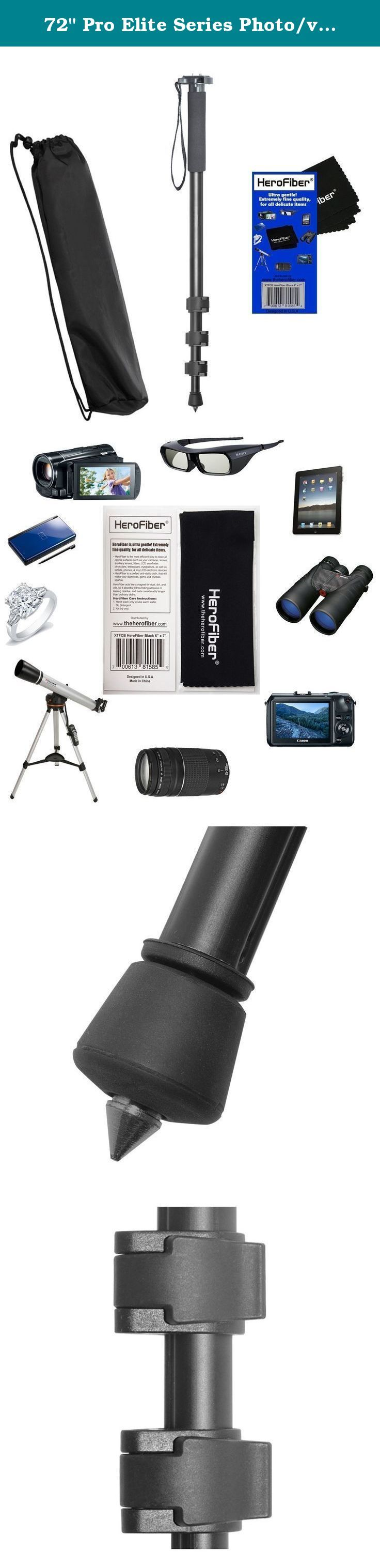 "72"" Pro Elite Series Photo/video Monopod & Deluxe Soft Carrying Case for Canon EOS M Compact Systems Camera, EOS Rebel T1i, T2i, T3, T3i, T4i, T5i, & SL1 (100D, 550D, 600D, 650D, 700D and 1100D) Digital SLR Cameras w/ Herofiber® Ultra Gentle Cleaning Cloth. This 72"" Monopod W/3-Way Panhead extends up to 72"" (1.82 m), supports up to 7 lbs (9.9 kg), and weighs just 3.83 lbs (1.74 kg). It features a quick release plate. This Monopod is designed to support digital still cameras, lenses..."