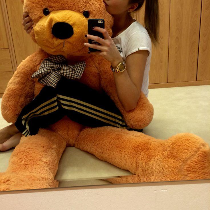 Teddy bear big, from my boyfriend, ginger, me, girl, hair, adidas marc jacobs watch love thank u bronze sport fashion clothes ootd like animal girl nice