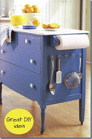 Old dresser-->New Look: Buy one at Craigslist, Ebay, Goodwill or any other thrift store. Use blue paint, a few accessories, some casters on the legs, & a Carrara marble top transforms the dresser into kitchen island. All budget-friendly!  SO brilliant