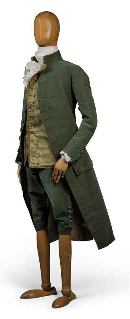 3-piece suit, France, third quarter 18th century. 'Changeable' green velvet, reversing to pink, velvet covered buttons; waistcoat: green figured silk satin with green silk fringed braid.