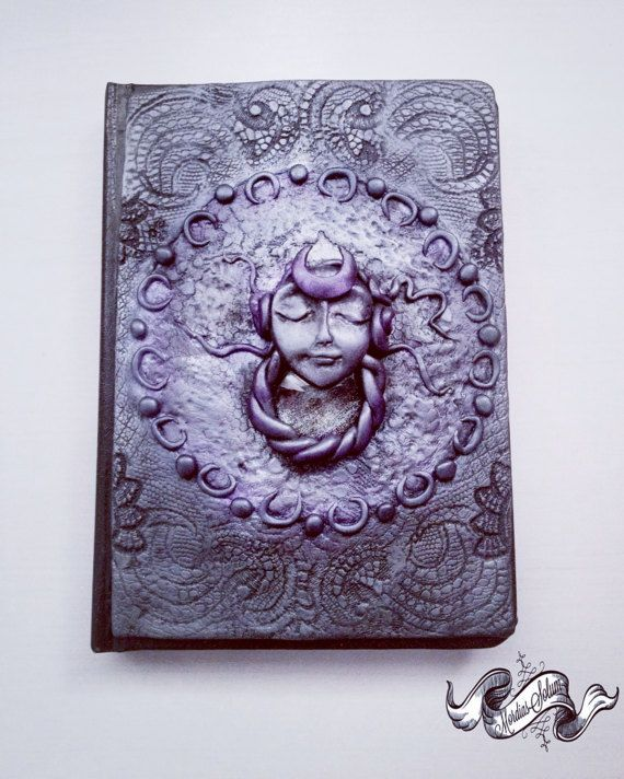 Selene Moon Goddess Handmade Clay Art Notebook by MordiasSolum