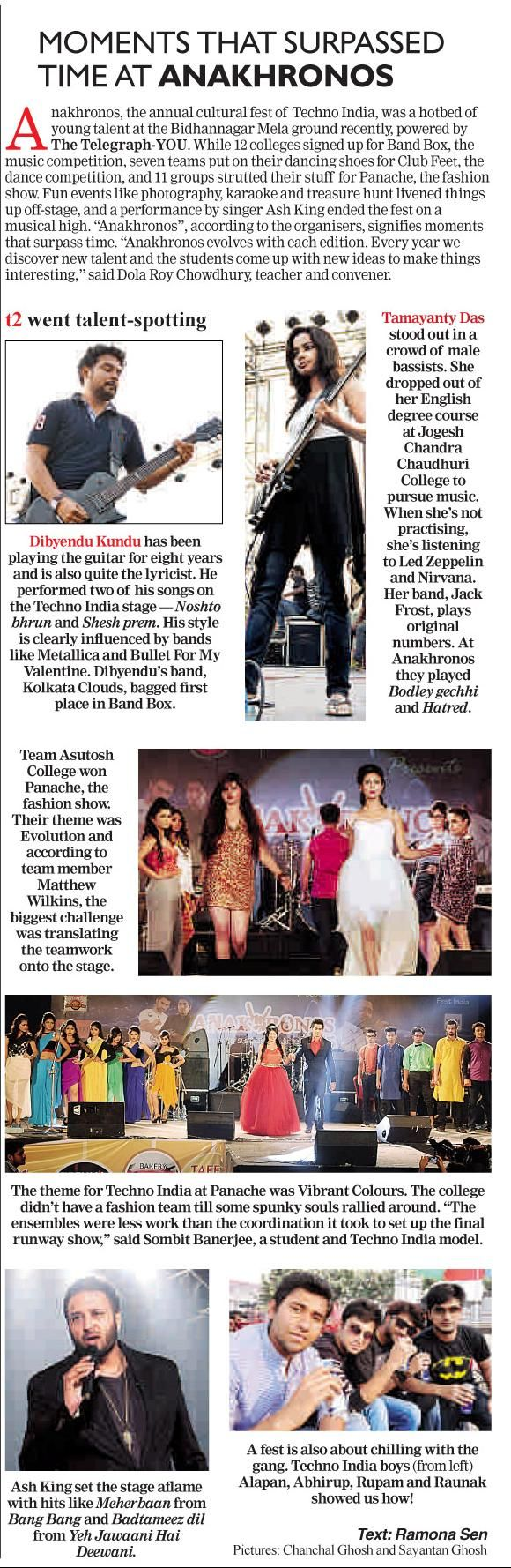 Jack Frost's Tamayanty in The Telegraph T2 (Dated 13th March, 2015)