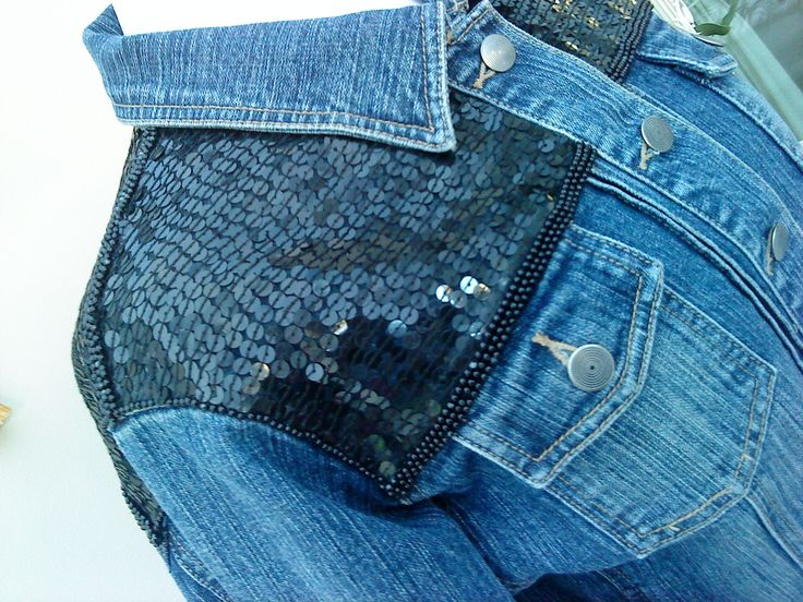 Denim jacket reworked with vintage Frank Usher sequins/beads. Handmade by me Glitz & Glam