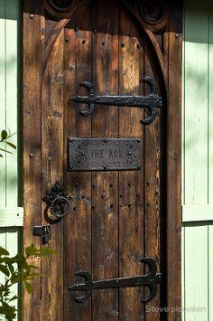 hinges on a wooden door