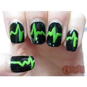 nails: Heartbeat Nails, Nails Art, Nails Design, Beats Nails, Neon Green, Red Heart, Long Nails, Heart Monitor, Heart Beats