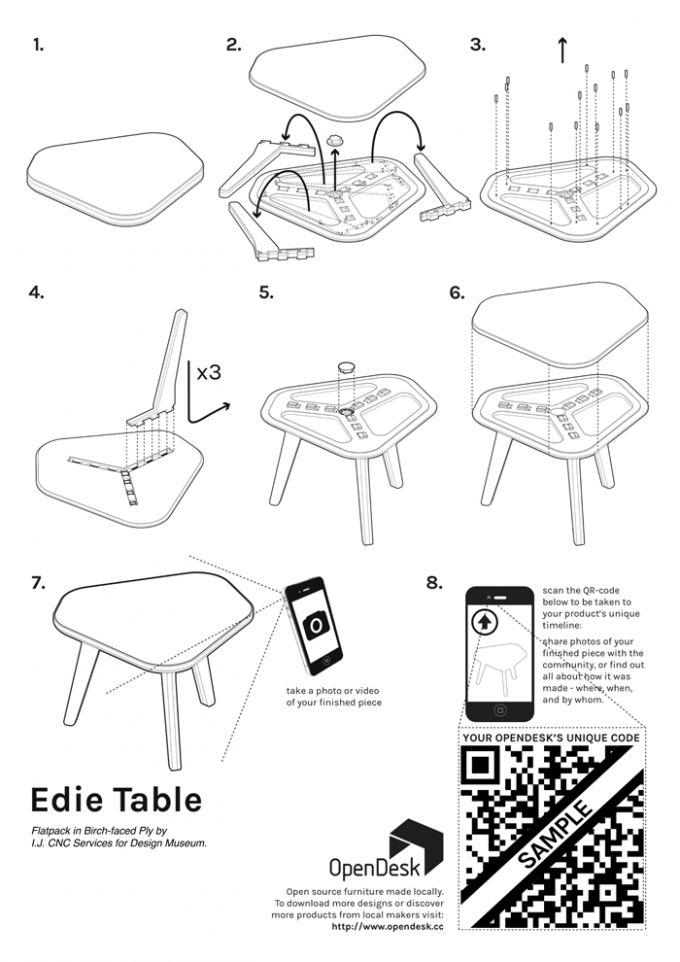 Manual de instrucciones de la Edie Table. OpenDesk. Señala encima de la imagen para verla más grande.