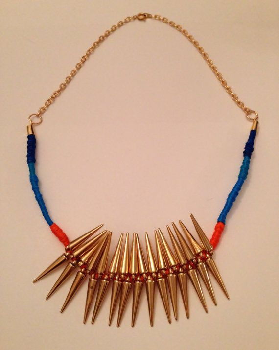 Statement necklace gold spike beads and by BlueBlueElectricBlue, £15.00