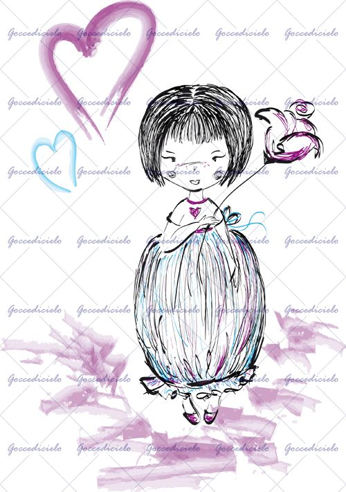 """Bambina con graziosi capelli a caschetto indossa un vestito a """"bon bon"""" e sorregge un grande fiore viola. Sullo sfondo un grande cuore dello stesso colore e un cuore azzurro. Realizzata con tecnica mista a china e acquerello."""