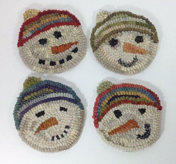 Rug Hooking PATTERN, Snowmen Mug Rugs, J858 by designsinwool