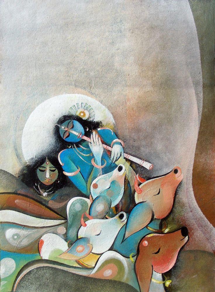 Купить Картины художника Интернет Раджив Кумар - Радхе Кришне V - CE100335