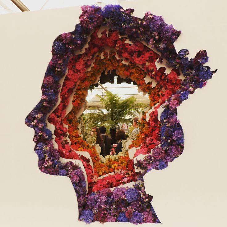 RHS Chelsea Flower Show 2016 London Queen Elizabeth silhouette by flowers