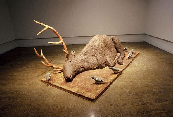 Elk - Shay Church - Wet clay installation