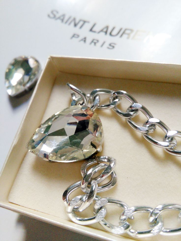 Crystal Clear Swarovski Elements Crystal on a luxe silver plated chain with a big comfy clasp. 9.99 on chelf.net