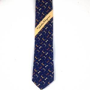 Salvatore Ferragamo Dark Blue Silk Tie with sunglasses motif. Classic men tie