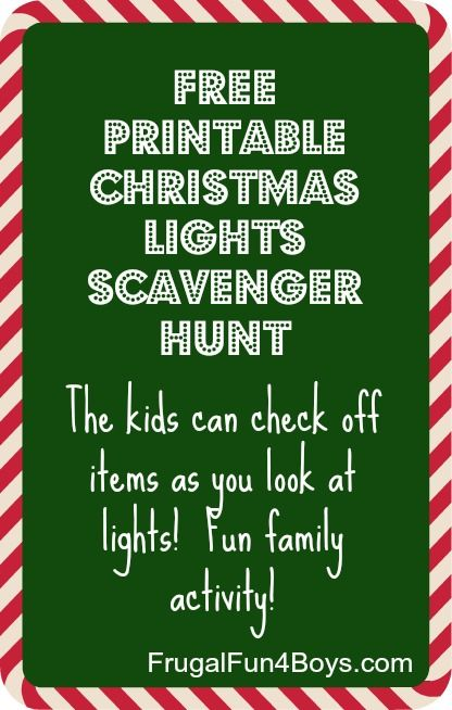 Free Printable Christmas Lights Scavenger Hunt @Robin McCamment