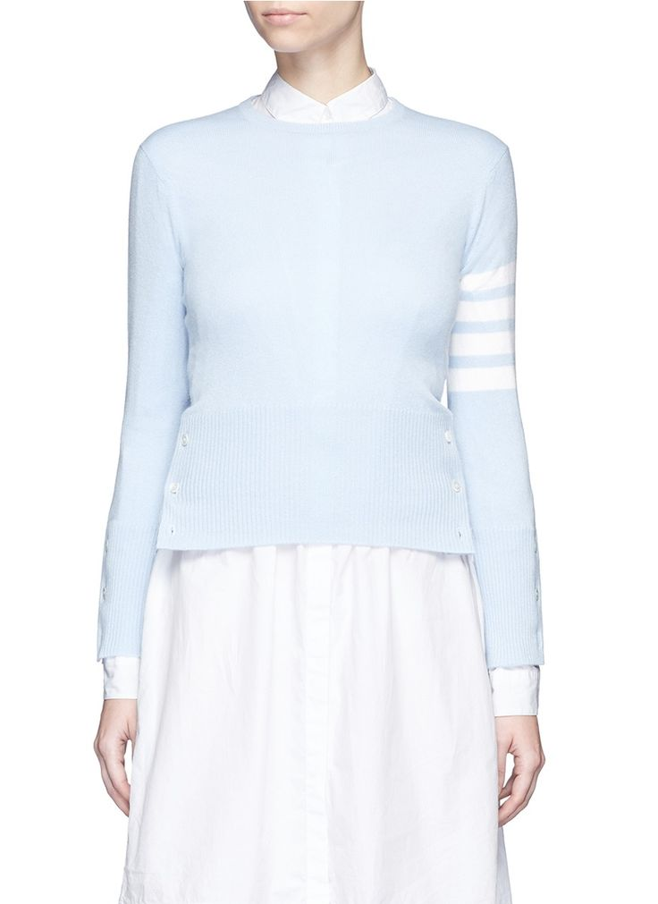 THOM BROWNE Stripe sleeve cashmere sweater. #thombrowne #cloth #sweater