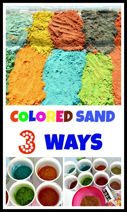Make your own colored sand for sensory play, small world and art activities. 3 simple ways #sensoryactivities