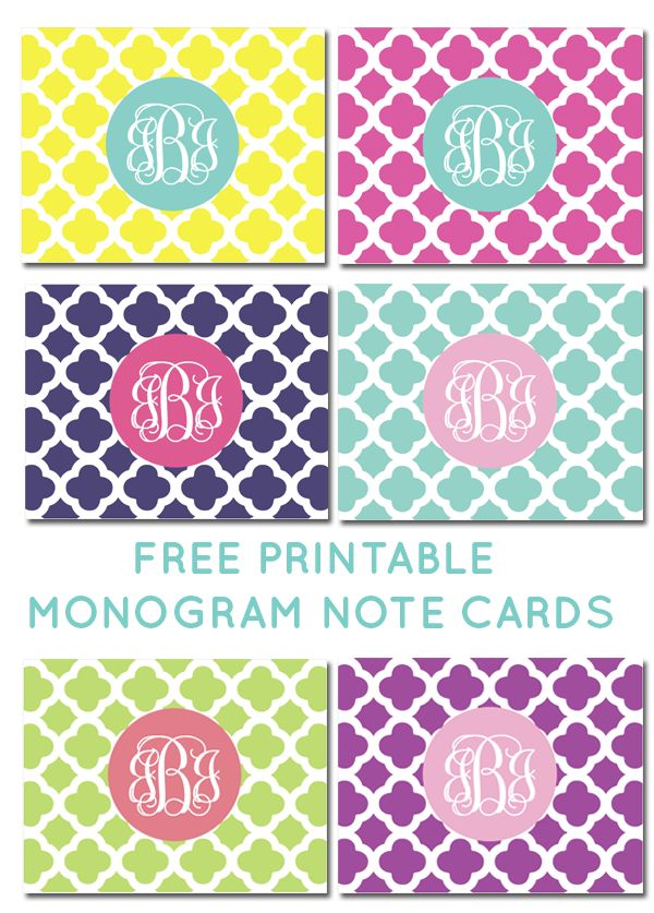 FREE printable monogram quatrefoil note cards from printablemonogram.com #freeprintable