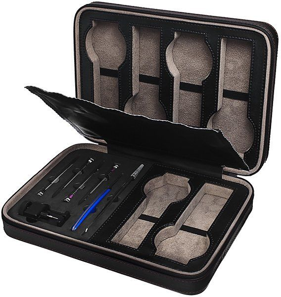 Akribos XXIV Brown Leatherette 6 Slot Watch Travel Case and Accessory Sizing Kit: Get it for $29.99 (was $265.00) #coupons #discounts