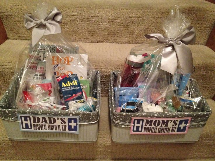 "Mom and Dad ""to be"" hospital survival kits..."
