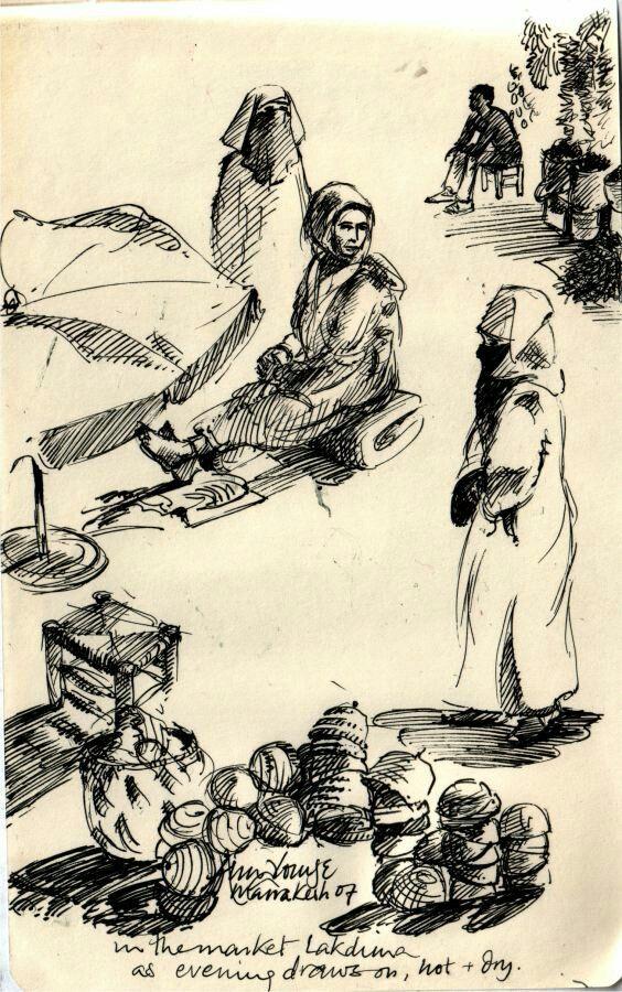 Alou Oakland   The old slave market   Pen Drawing