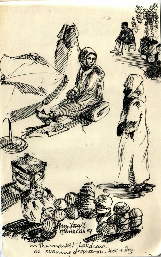 Alou Oakland | The old slave market | Pen Drawing
