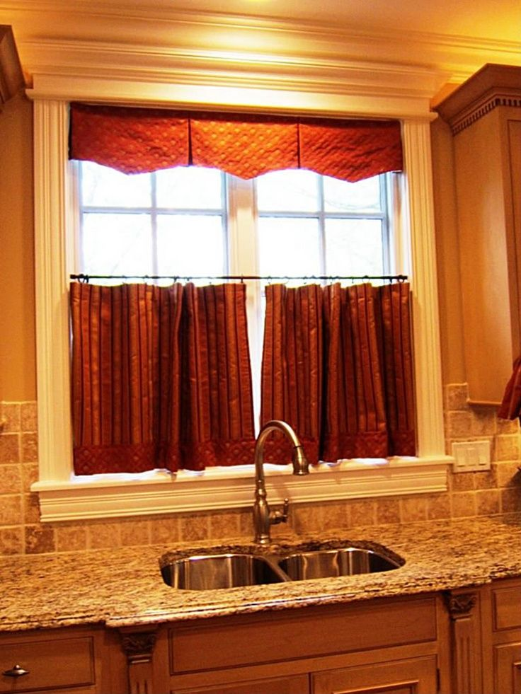 35 best images about curtains drapes on pinterest bay window curtain rod wrought iron and - Kitchen curtains ideas ...