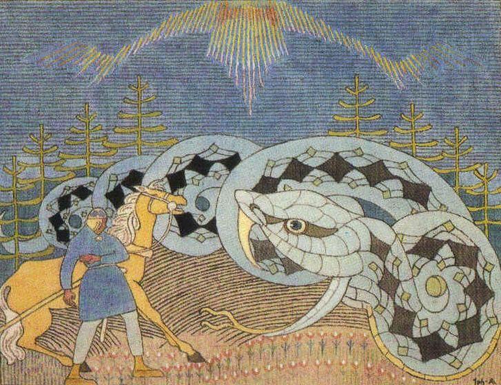 Lemminkäinen and the great serpent. Joseph Alanen (1885-1920). The Kalevala.
