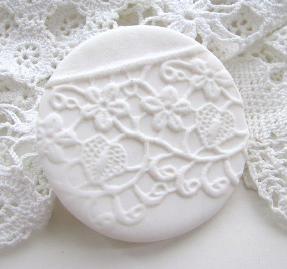 polymer clay lace brooch