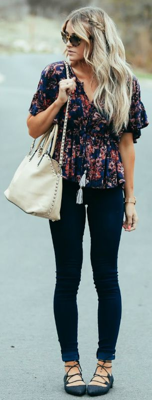Floral trend + natural choice + cute spring outfit + Cara Loren + beautiful floral printed blouse + jeans + strappy flat sandals + easygoing summer vibe Top/Jeans: Shopbop, Shoes: DSW.