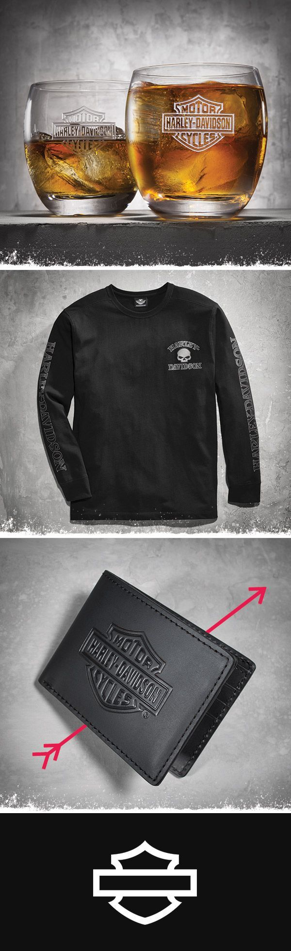 Classic glasses, cool cotton and handsome leather—Essentials for the man who's only tough on the outside.   Harley-Davidson Bar & Shield Rocks Glass Set, Skull Long Sleeve Tee, Black and Bar & Shield Flip Fold Wallet