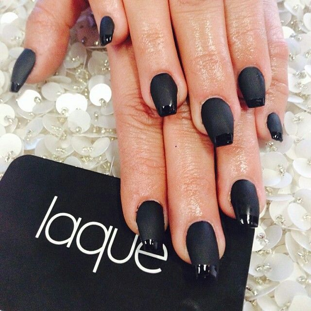 Black Matte With French Tip Gloss Nails By: Laqué Nail Bar