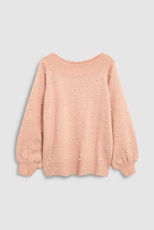 4f522daaa Blush Pearl Embellished Bardot Sweater