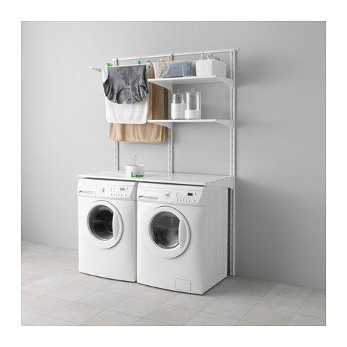 IKEA - ALGOT, Riel susp/baldas/tendedero, Puedes combinar los elementos de la serie ALGOT de muchas maneras distintas según tus necesidades y el espacio de que dispongas.Como los soportes, las baldas y otros accesorios se fijan con un simple clic, es fácil de montar, adaptar y modificar según tus necesidades.Se puede colocar en cualquier parte de la casa, incluso en zonas húmedas como el baño o en un balcón cubierto.
